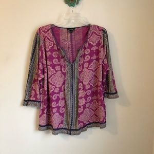 Lucky. Brand • scarf print pink purple boho top